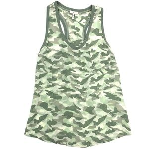 Joie Alicia Green Camo Silk Tank Top Racer Back